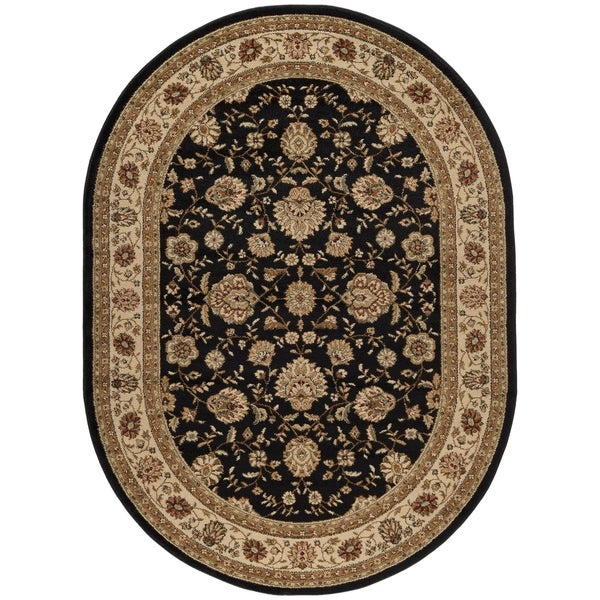 Alise Rhythm Black Traditional Area Rug 6 7 X 9 6 Oval