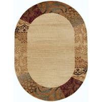 Alise Rhythm Beige Transitional Area Rug (5'3 x 7'3 Oval) - 5'3 x 7'3