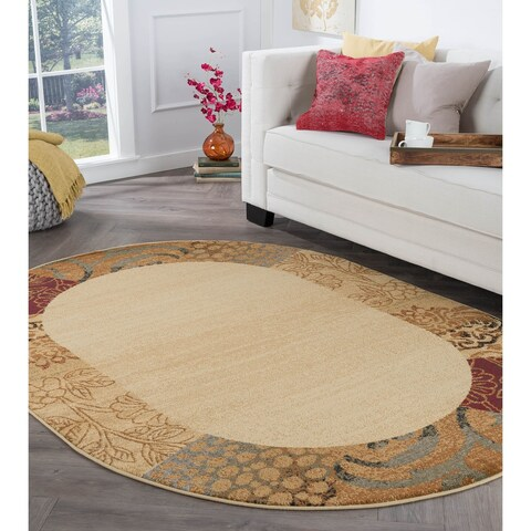 Alise Rhythm Beige Oval Transitional Area Rug (6'7 x 9'6 Oval) - 6'7 x 9'6