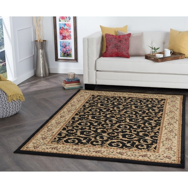 Alise Rugs Rhythm Transitional Oriental Area Rug   Black   5' X 7' by Alise Rugs