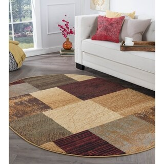 Alise Rugs Rhythm Contemporary Geometric Oval Area Rug - multi - 5'3 x 7'3