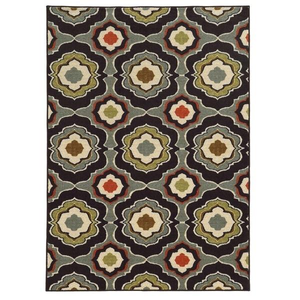"Loop Pile Abstract Black/ Grey Nylon Rug (6'7 x 9'3) - 6'7"" x 9'3"""