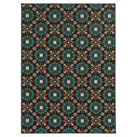 Loop Pile Casual Floral Brown/ Blue Nylon Rug - 6'7 x 9'3