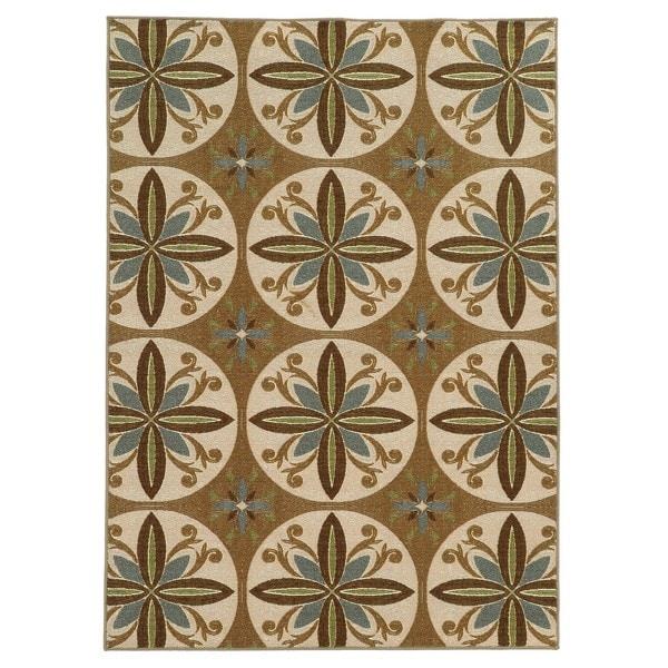 "Loop Pile Casual Floral Tan/ Ivory Nylon Rug (6'7 x 9'3) - 6'7"" x 9'3"""