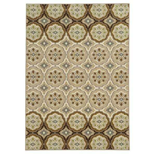 Loop Pile Casual Floral Ivory/ Tan Nylon Rug (6'7 x 9'3) - 6'7 x 9'3
