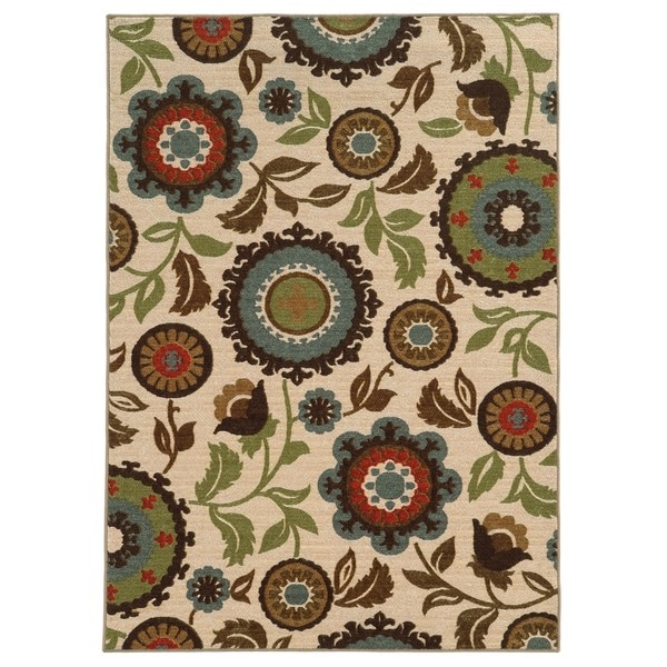 "Loop Pile Over Scale Floral Ivory/ Multi Nylon Rug (3'3 x 5'5) - 3'3"" x 5'5"""