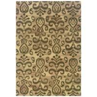 """Ikat Floral Handmade Beige/ Brown Rug (3'6 x 5'6) - 3'6"""" x 5'6"""""""