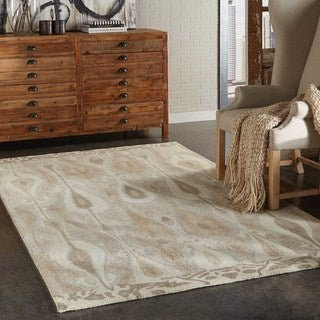 Abstract Hand-made Wool Grey/ Beige Rug (5' x 8')