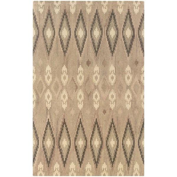 Ikat Pattern Hand-made Beige/ Ivory Rug - 5' x 8'