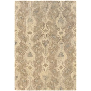 Abstract Ikat Hand-made Ivory/ Beige Rug (5' x 8')