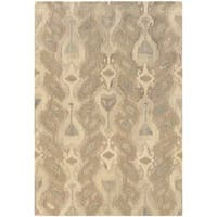 Abstract Ikat Hand-made Ivory/ Beige Rug (5' x 8') - 5' x 8'