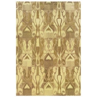 Abstract Ikat Hand-made Beige/ Tan Rug (5' x 8')