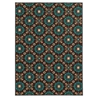 Loop Pile Casual Floral Brown/ Blue Nylon Rug (5'3 x 7'3)