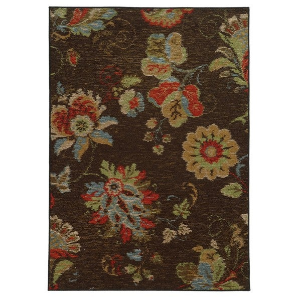 Shop Loop Pile Ikat Floral Brown Multi Nylon Rug 5 3 X