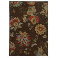 """Loop Pile Ikat Floral Brown/ Multi Nylon Rug (5'3 x 7'3) - 5'3"""" x 7'3"""""""