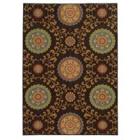 Loop Pile Over Scale Floral Brown/ Multi Nylon Rug (6'7 x 9'3)