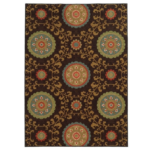 "Loop Pile Over Scale Floral Brown/ Multi Nylon Rug (6'7 x 9'3) - 6'7"" x 9'3"""