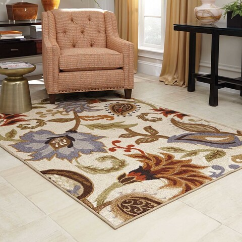 "Copper Grove Apache Loop Pile Over Scale Floral Ivory/ Multi Nylon Rug - 6'7"" x 9'3"""