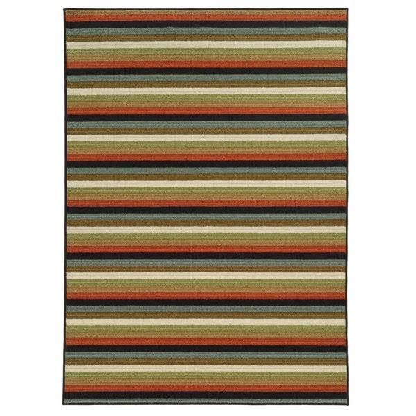 Loop Pile Casual Stripe Multi Nylon Rug - 6'7 x 9'3