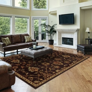 Traditional Floral Brown/ Beige Rug (6'7 x 9'3)
