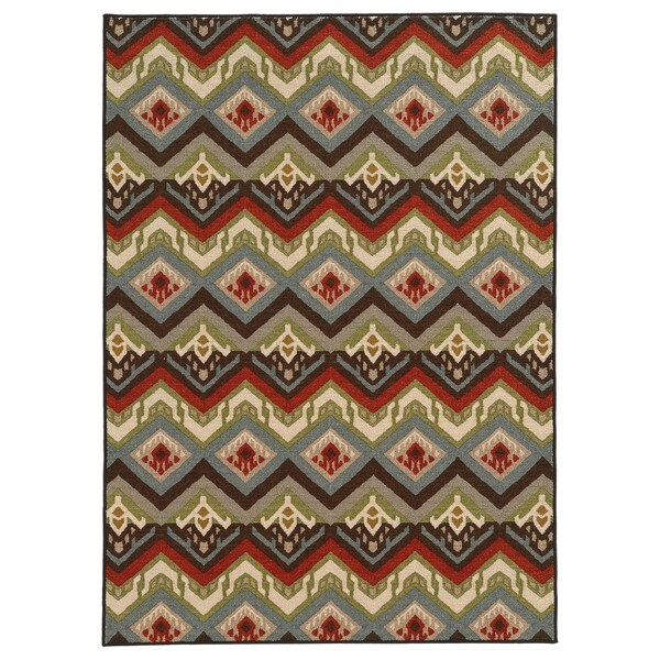 Geometric Tribal Multi Nylon Rug - 7'10 x 10'