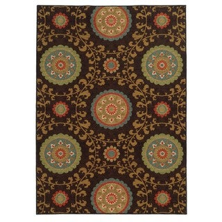 "Loop Pile Over Scale Floral Brown/ Multi Nylon Rug (7'10 x 10') - 7'10"" x 10'"