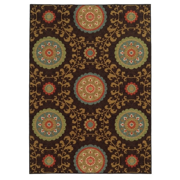 "Loop Pile Over Scale Floral Brown/ Multi Nylon Rug (7'10 x 10') - 7'10"" x 10'"