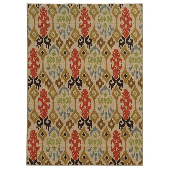 Loop Pile Ikat Design Beige/ Multi Nylon Rug (7'10 x 10')