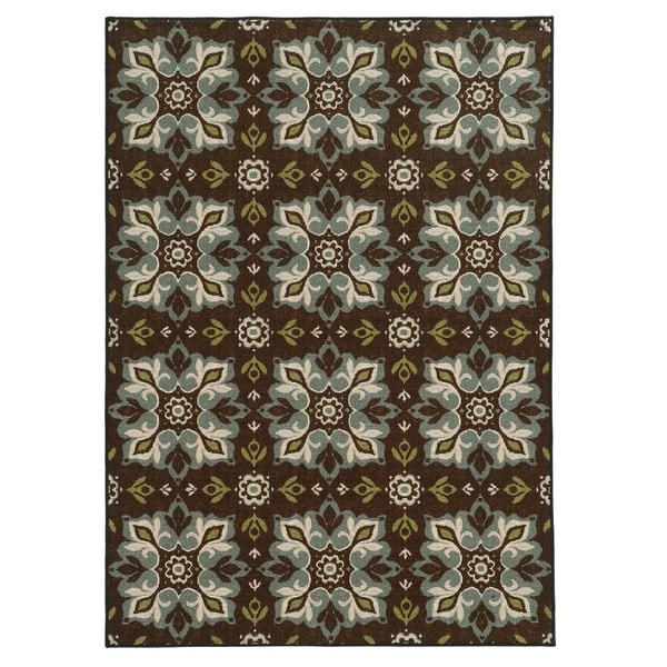 "Loop Pile Casual Floral Brown/ Blue Nylon Rug (7'10 x 10') - 7'10"" x 10'"