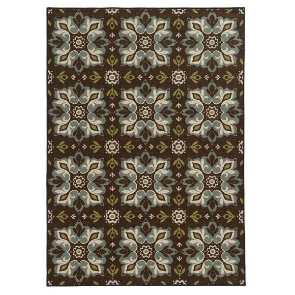 Loop Pile Casual Floral Brown/ Blue Nylon Rug (7'10 x 10')