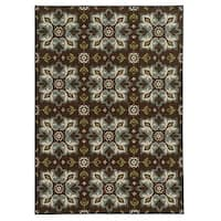 Loop Pile Casual Floral Brown/ Blue Nylon Rug - 7'10 x 10'
