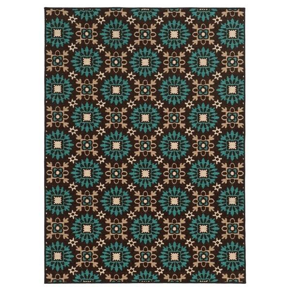 Loop Pile Casual Floral Brown/ Blue Nylon Rug - 7'10 x 10'