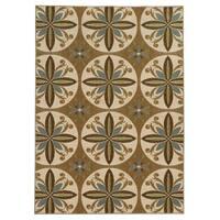 Loop Pile Casual Floral Tan/ Ivory Nylon Rug - 7'10 x 10'