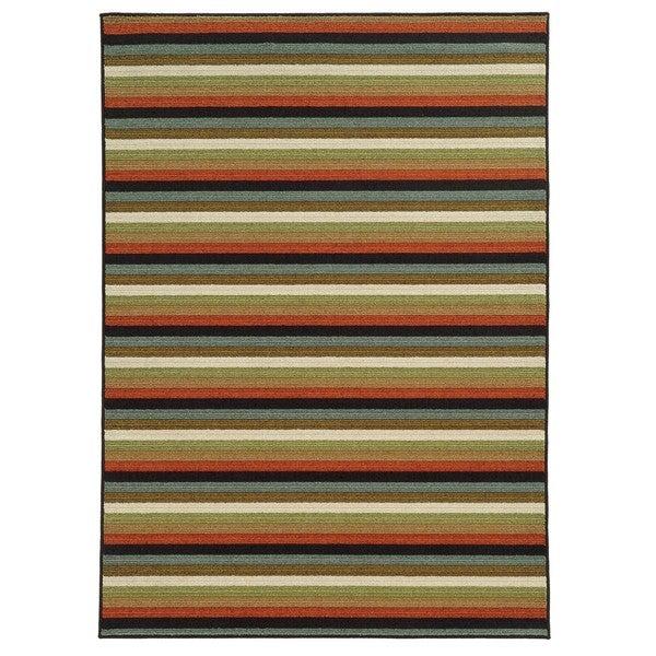 "Loop Pile Casual Stripe Multi Nylon Rug (7'10 x 10') - 7'10"" x 10'"