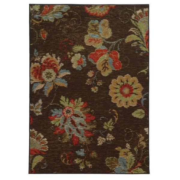 """Loop Pile Ikat Floral Brown/ Multi Nylon Rug (7'10 x 10') - 7'10"""" x 10'"""
