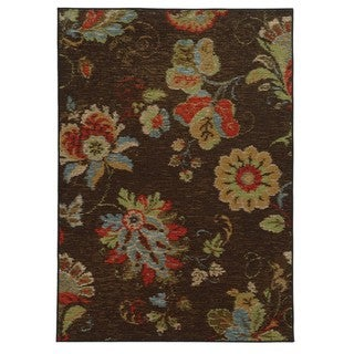 "Loop Pile Ikat Floral Brown/ Multi Nylon Rug (2'2 x 3'9) - 2'2"" x 3'9"""