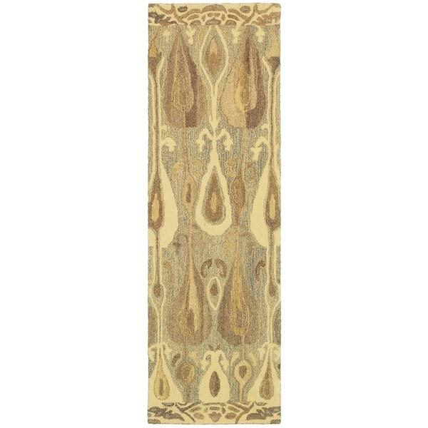 Abstract Hand-made Wool Grey/ Beige Rug (2'6 x 8')