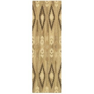 Ikat Pattern Hand-made Beige/ Ivory Rug (2'6 x 8')