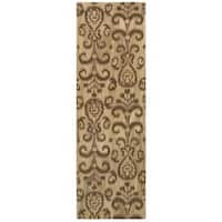 """Ikat Floral Hand-made Beige/ Brown Rug (2'6 x 8') - 2'6"""" x 8'"""