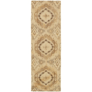 Abstract Ikat Hand-made Beige/ Ivory Rug (2'6 x 8')
