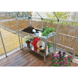 Palram Greenhouse Accessory Bundle with Shelves, Work Bench, Auto Vent and Hangers