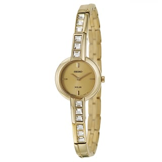 Seiko Women's 'Solar' Yellow Goldplated Steel and Crystal Solar-powered Quartz Watch