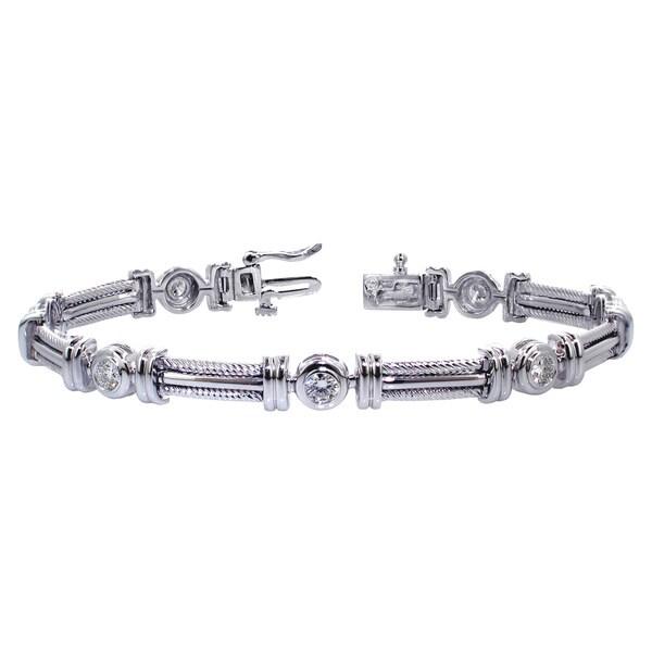 14k White Gold 1 1/6ct TDW Brilliant-cut Diamond Tennis Bracelet