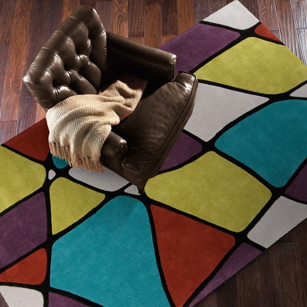 Hand-Tufted Belmont Contemporary Geometric Area Rug - 5' x 8'