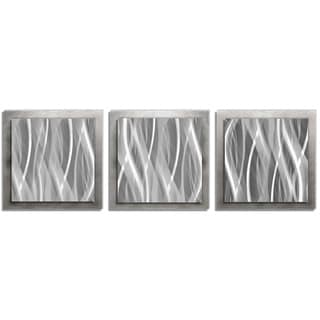 Modern Metal Wall Art 'Metallic Essence' Layered 3-panel Steel Wall Art