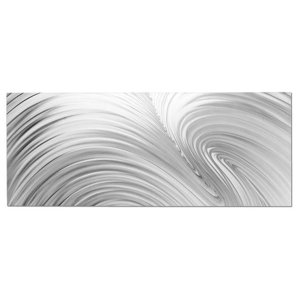 "Nicholas Yust 'Fusion Composition"" White/ Grey Contemporary Metal Wall Art"