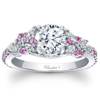 Barkev's Designer 14k White Gold 1 1/10ct TDW Diamond and Pink Sapphire Ring