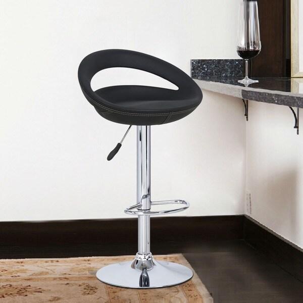 Adeco Black Round Hydraulic Lift Adjustable Barstool Chairs (Set of 2)