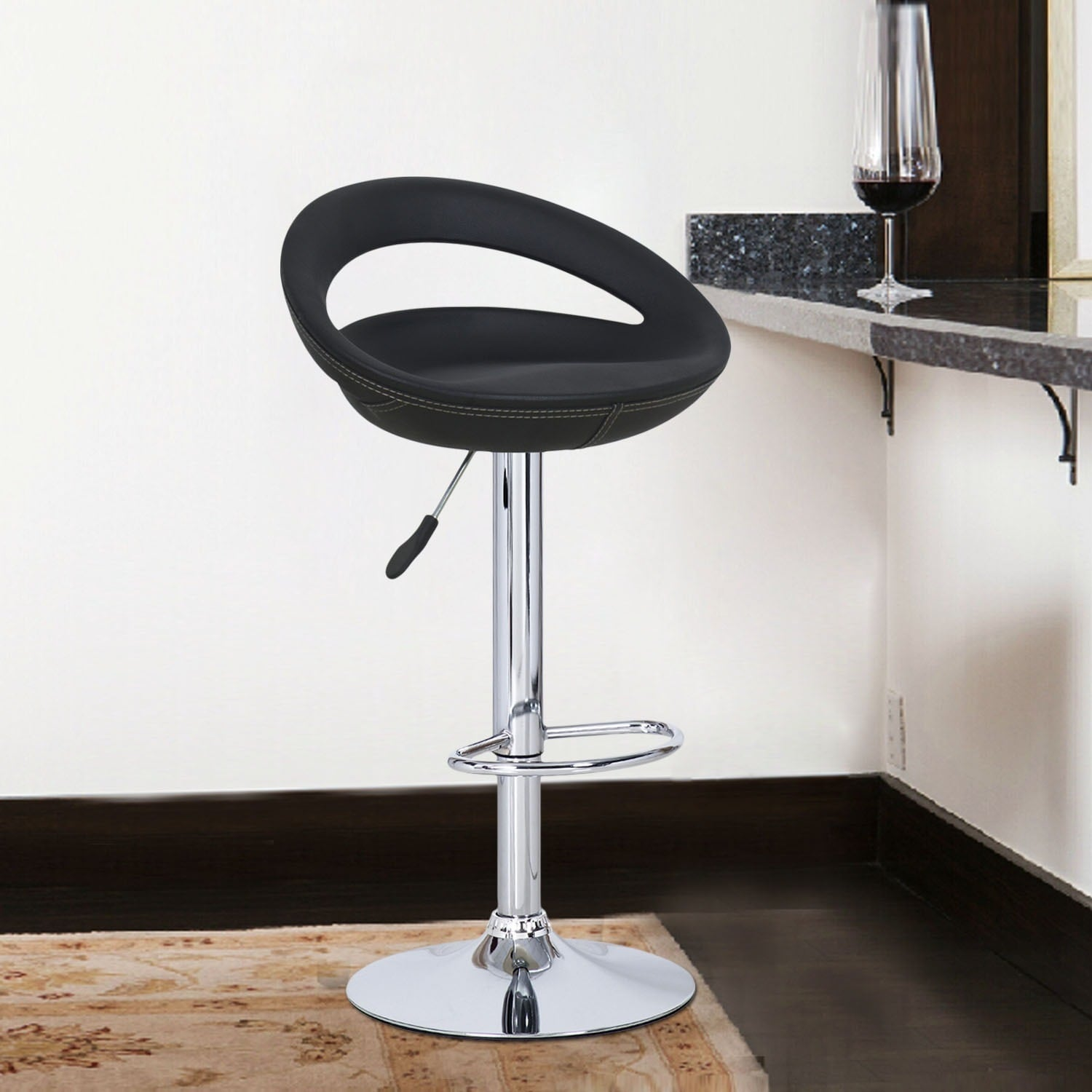 Adeco Black Round Hydraulic Lift Adjustable Barstool Chai...