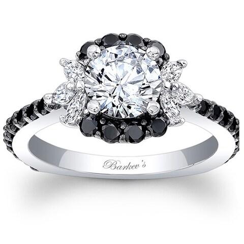 Barkev's Designer 14k White Gold 1 1/2ct TDW Black and White Diamond Engagement Ring